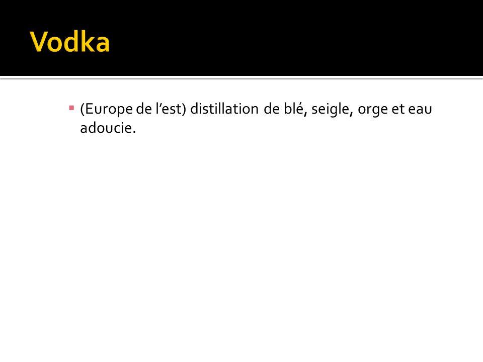 Vodka (Europe de l'est) distillation de blé, seigle, orge et eau adoucie.