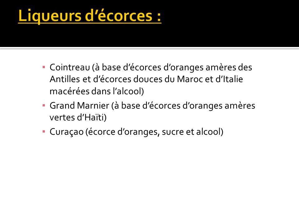 Liqueurs d'écorces : Cointreau (à base d'écorces d'oranges amères des Antilles et d'écorces douces du Maroc et d'Italie macérées dans l'alcool)