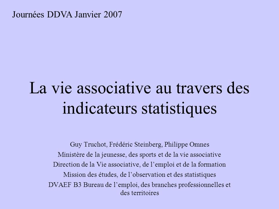 La vie associative au travers des indicateurs statistiques
