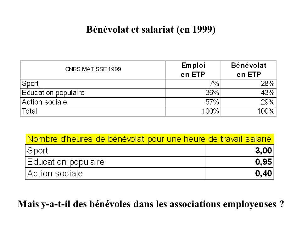 Bénévolat et salariat (en 1999)