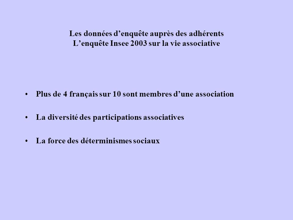 Les données d'enquête auprès des adhérents L'enquête Insee 2003 sur la vie associative