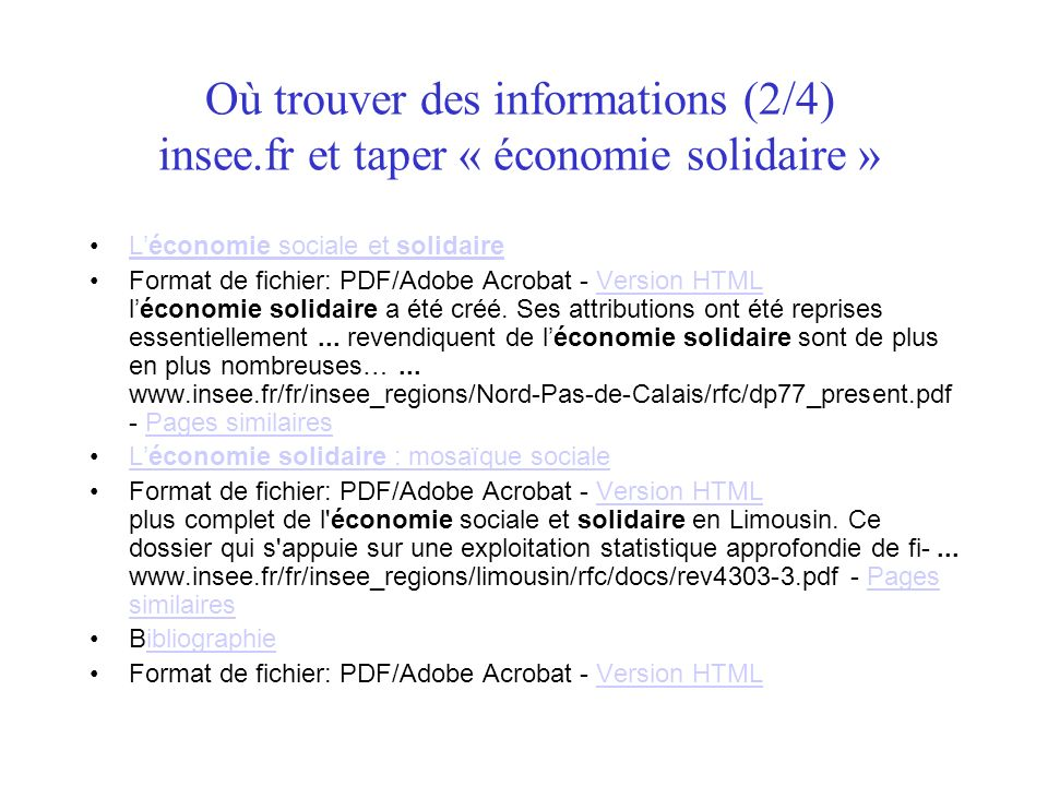 Où trouver des informations (2/4) insee