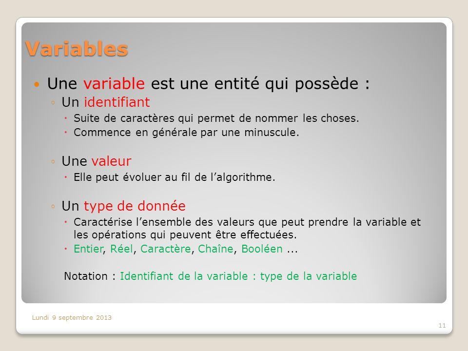 Variables Une variable est une entité qui possède : Un identifiant