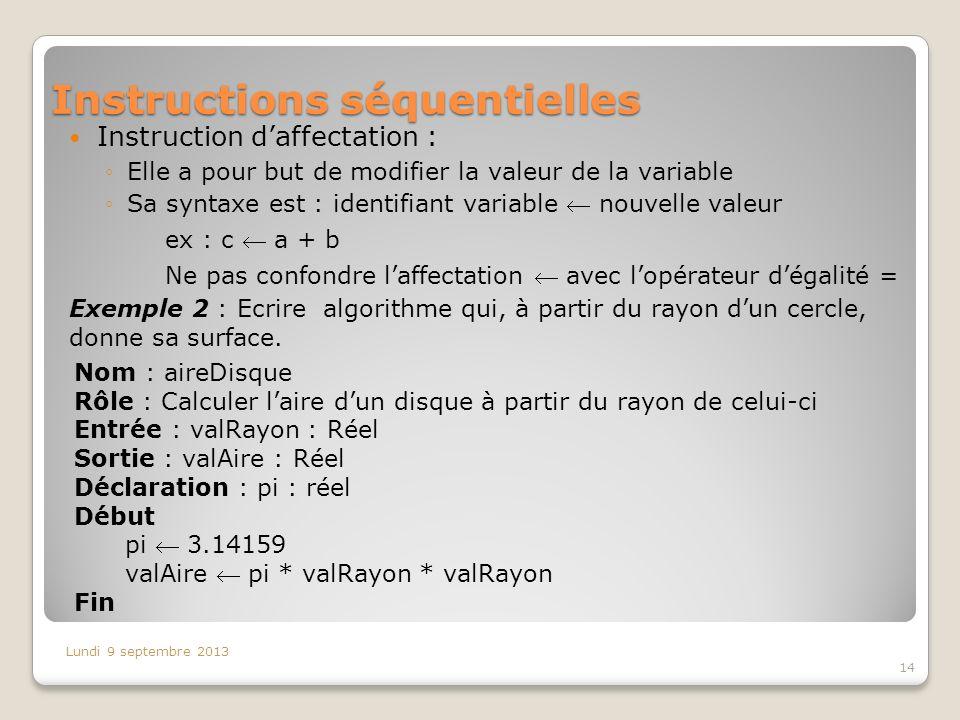 Instructions séquentielles