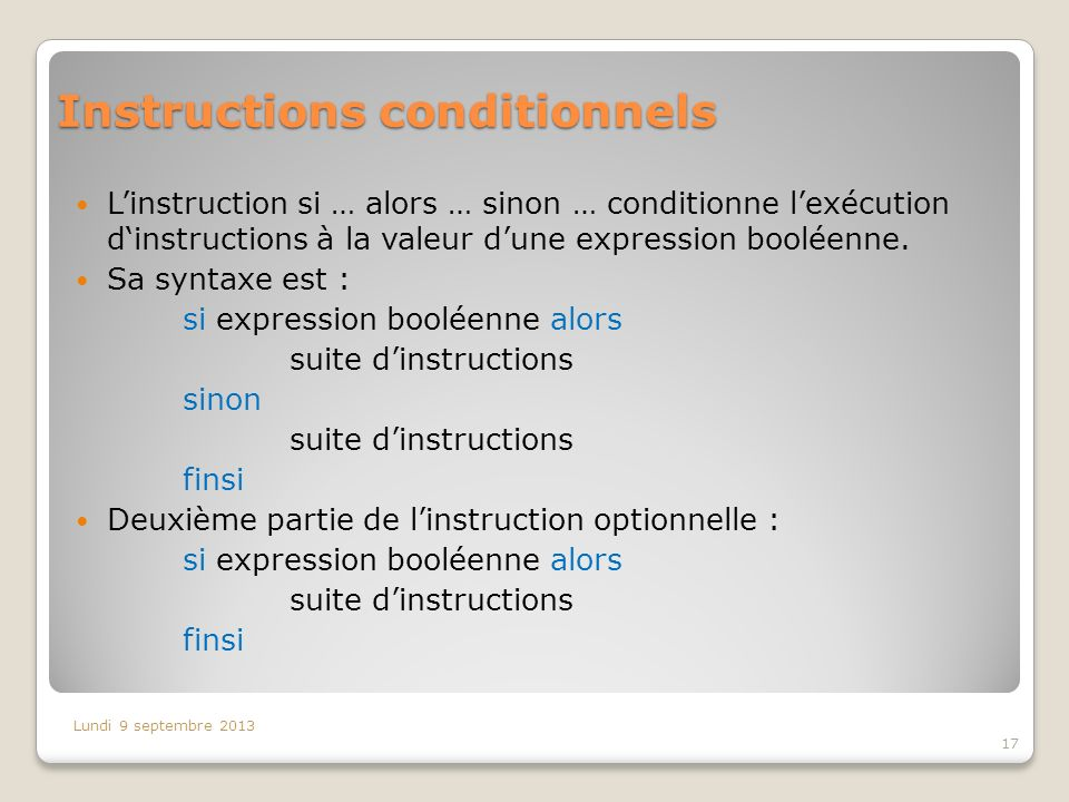 Instructions conditionnels