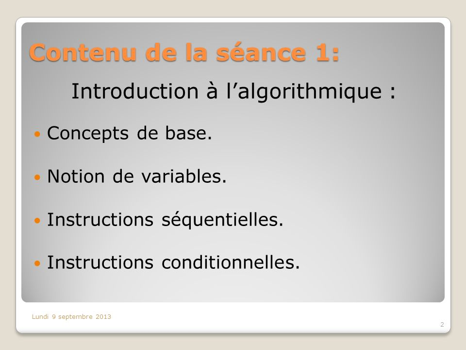 Introduction à l'algorithmique :