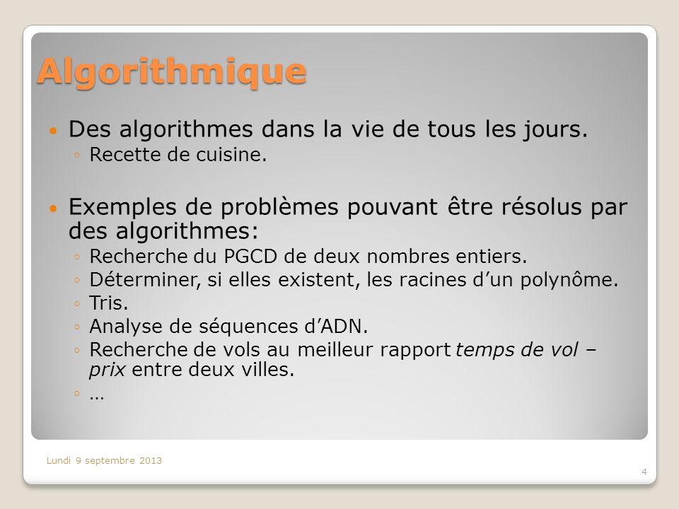 Algorithmique Des algorithmes dans la vie de tous les jours.
