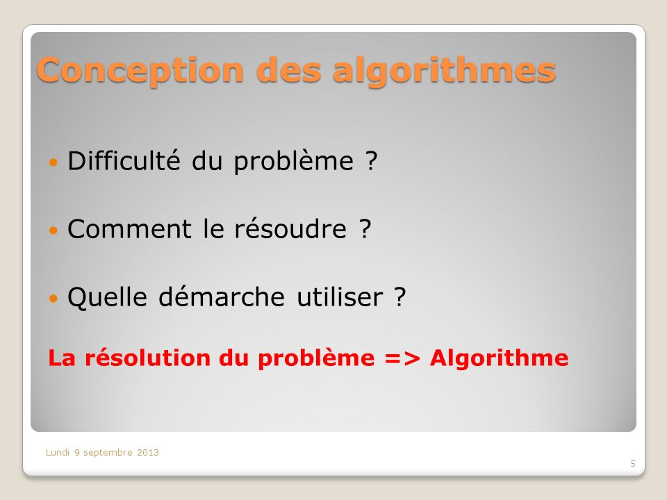 Conception des algorithmes