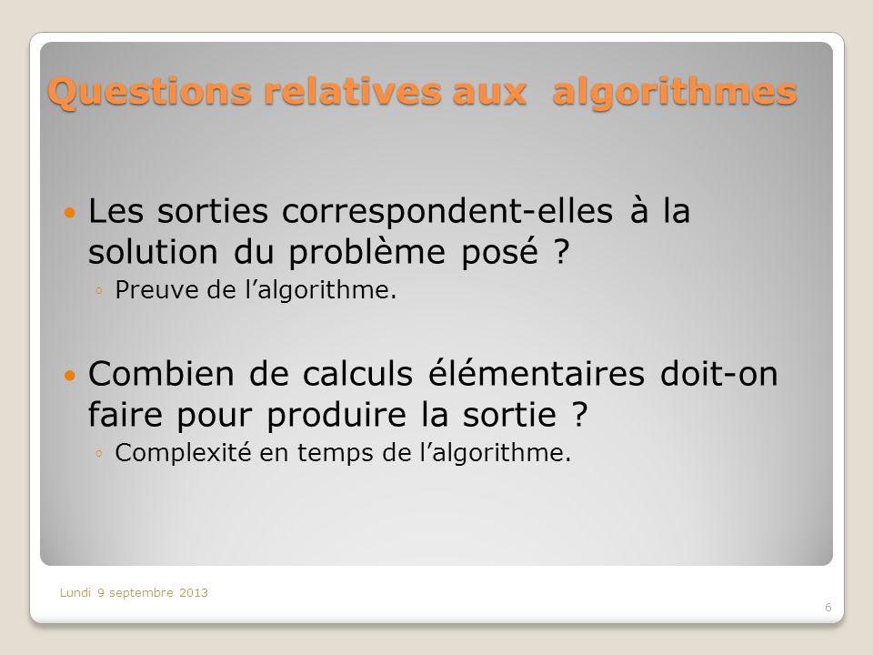 Questions relatives aux algorithmes