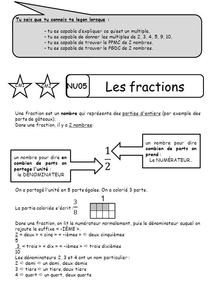 Les fractions 1 2 NU05 Tu sais que tu connais ta leçon lorsque :