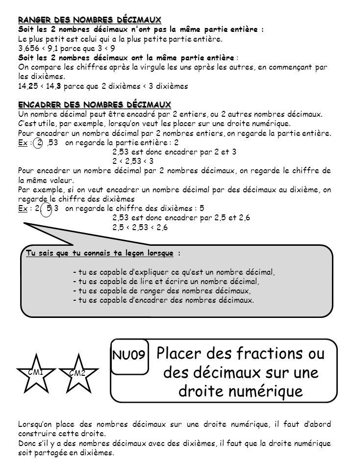 Placer des fractions ou des décimaux sur une droite numérique