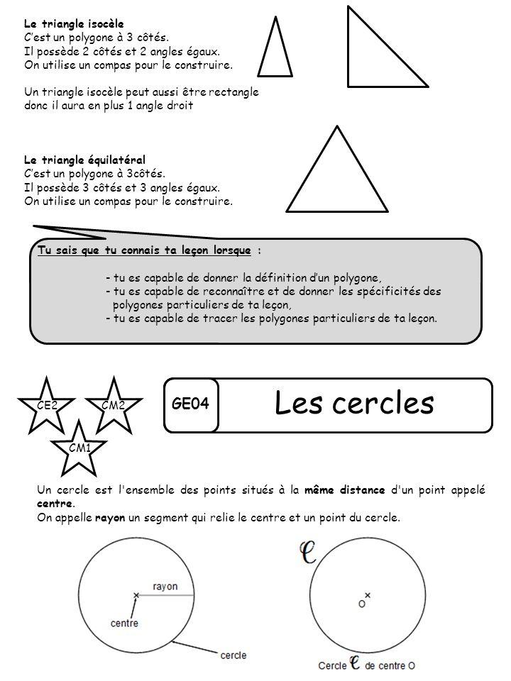 Les cercles GE04 Le triangle isocèle C'est un polygone à 3 côtés.