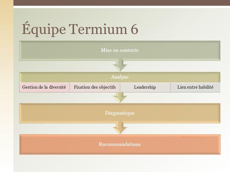 Équipe Termium 6 Mise en contexte Analyse Gestion de la diversité