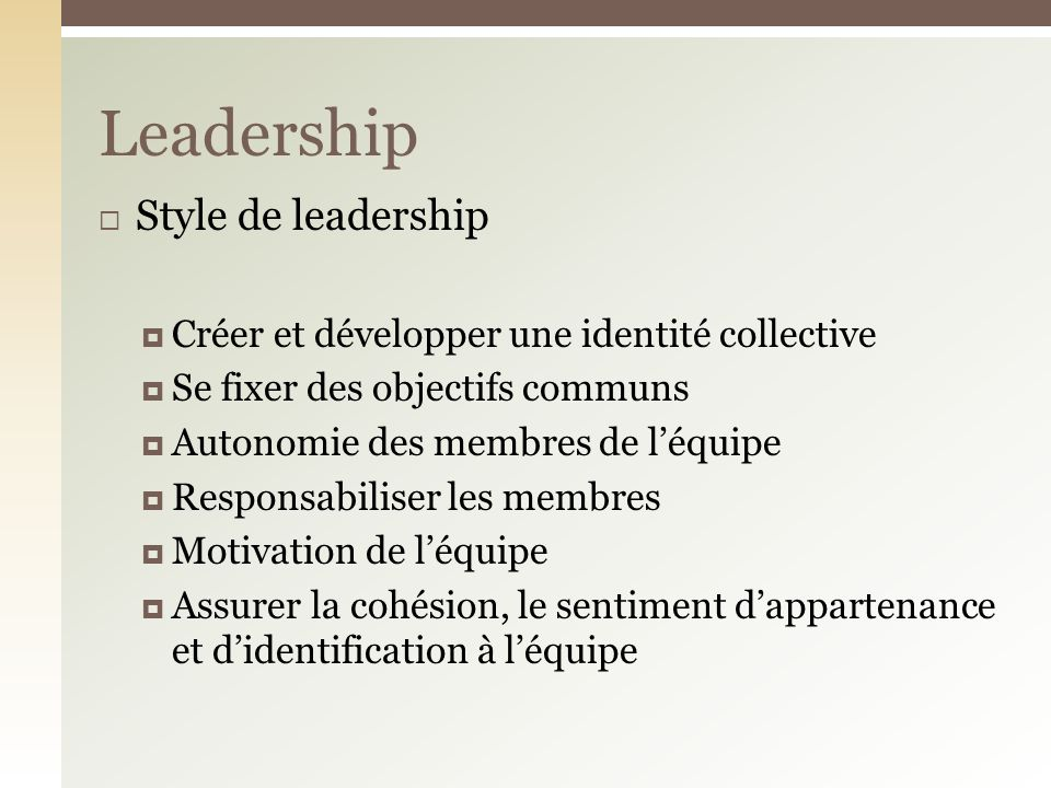Leadership Style de leadership