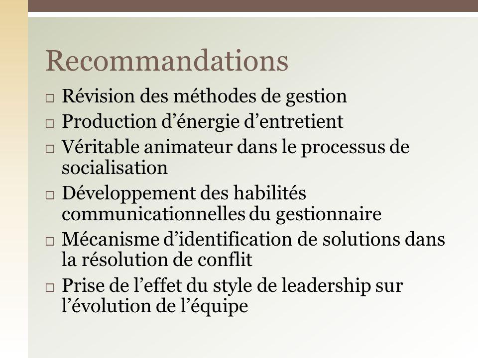 Recommandations Révision des méthodes de gestion