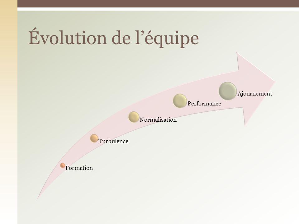 Évolution de l'équipe Formation Turbulence Normalisation Performance