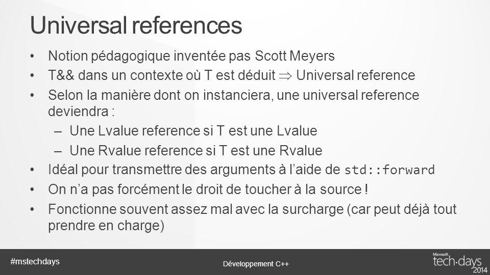 Universal references Notion pédagogique inventée pas Scott Meyers
