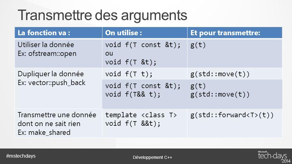 Transmettre des arguments