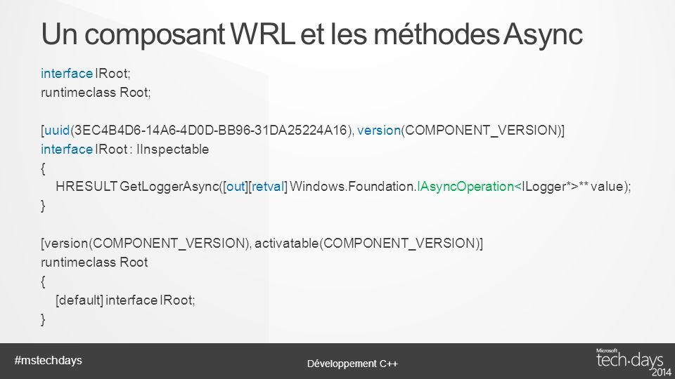 Un composant WRL et les méthodes Async