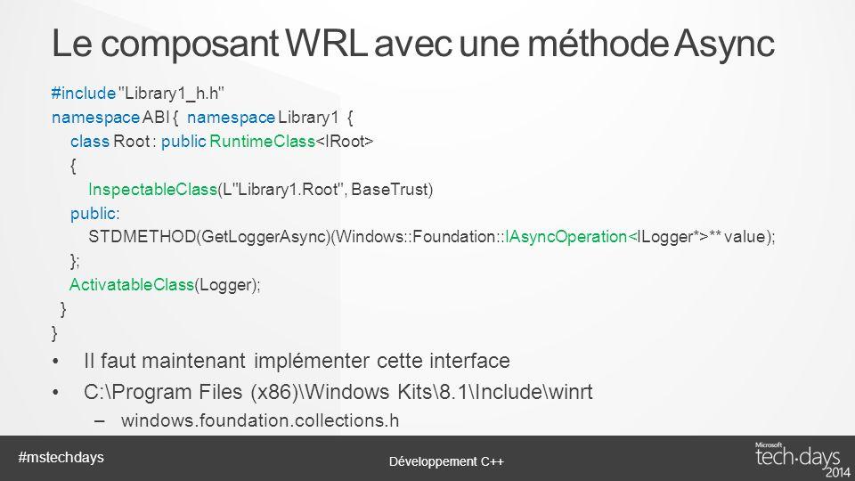 Le composant WRL avec une méthode Async