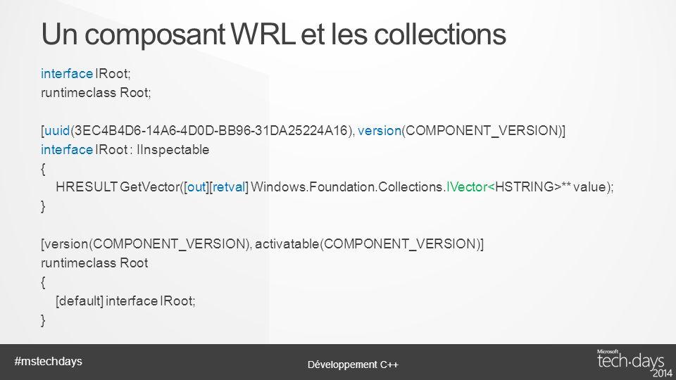 Un composant WRL et les collections