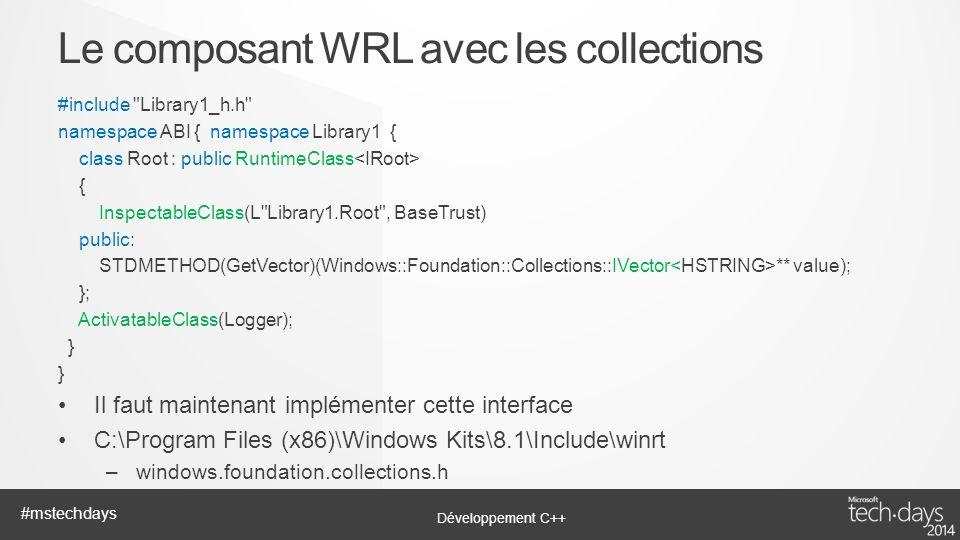 Le composant WRL avec les collections