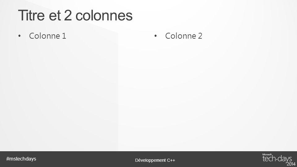 Titre et 2 colonnes Colonne 1 Colonne 2
