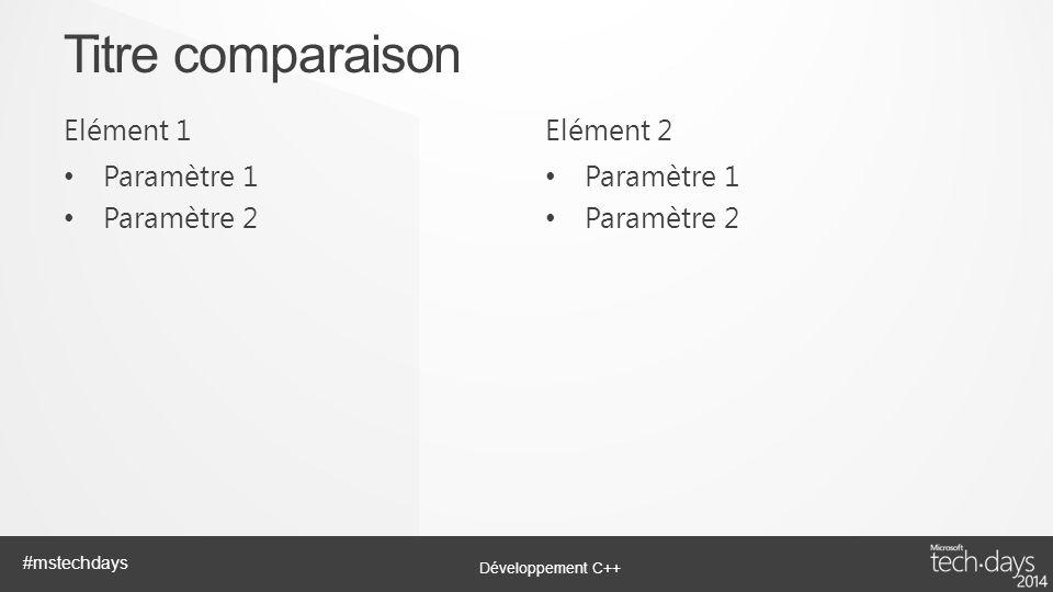 Titre comparaison Elément 1 Elément 2 Paramètre 1 Paramètre 2