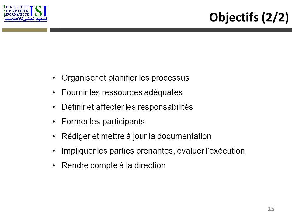 Objectifs (2/2) Organiser et planifier les processus