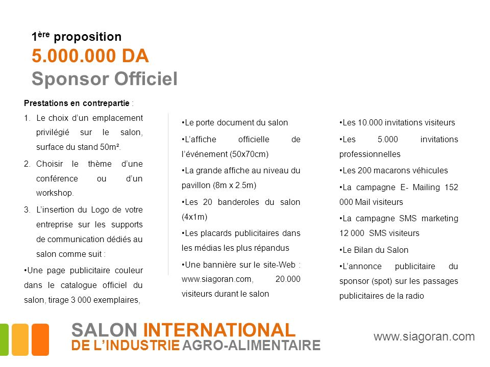 5.000.000 DA Sponsor Officiel SALON INTERNATIONAL