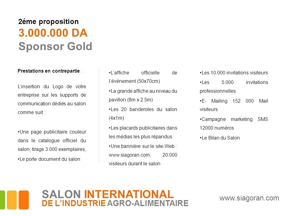 3.000.000 DA Sponsor Gold SALON INTERNATIONAL