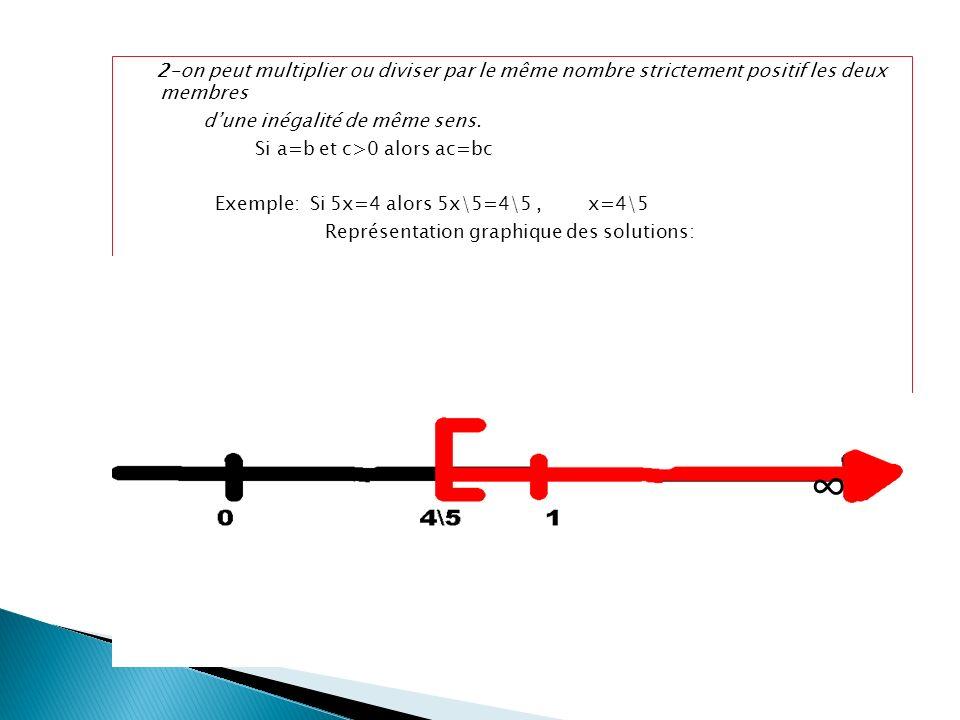 2-on peut multiplier ou diviser par le même nombre strictement positif les deux membres
