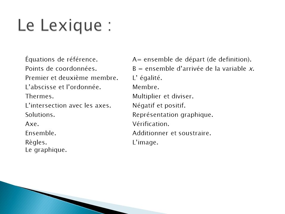 Le Lexique :