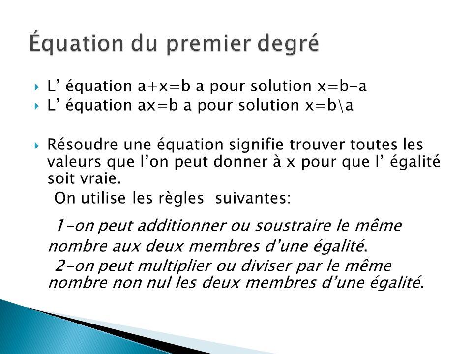 Équation du premier degré