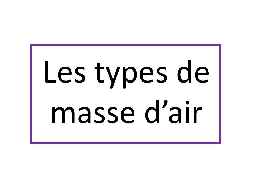Les types de masse d'air
