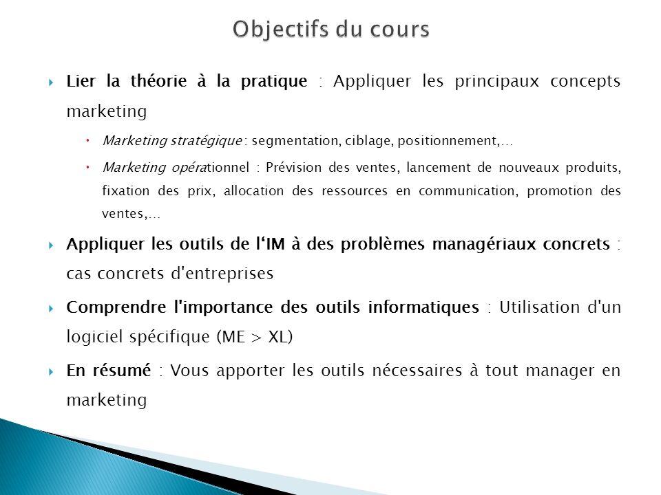 Objectifs du cours Lier la théorie à la pratique : Appliquer les principaux concepts marketing.