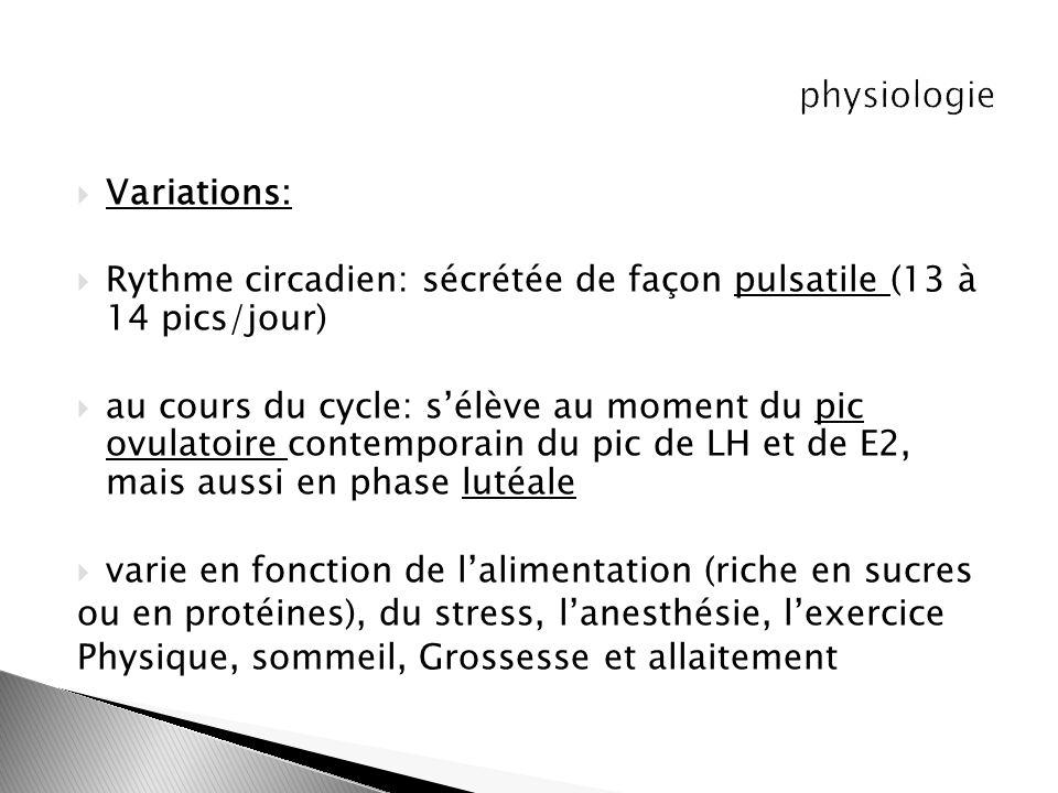 physiologie Variations: Rythme circadien: sécrétée de façon pulsatile (13 à 14 pics/jour)