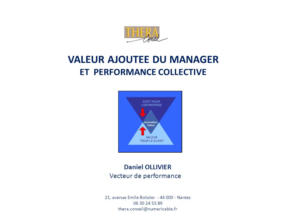 VALEUR AJOUTEE DU MANAGER ET PERFORMANCE COLLECTIVE