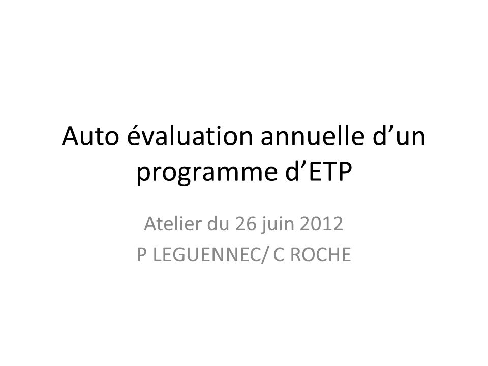 Auto évaluation annuelle d'un programme d'ETP