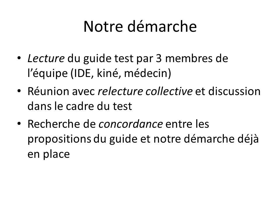 Notre démarche Lecture du guide test par 3 membres de l'équipe (IDE, kiné, médecin)