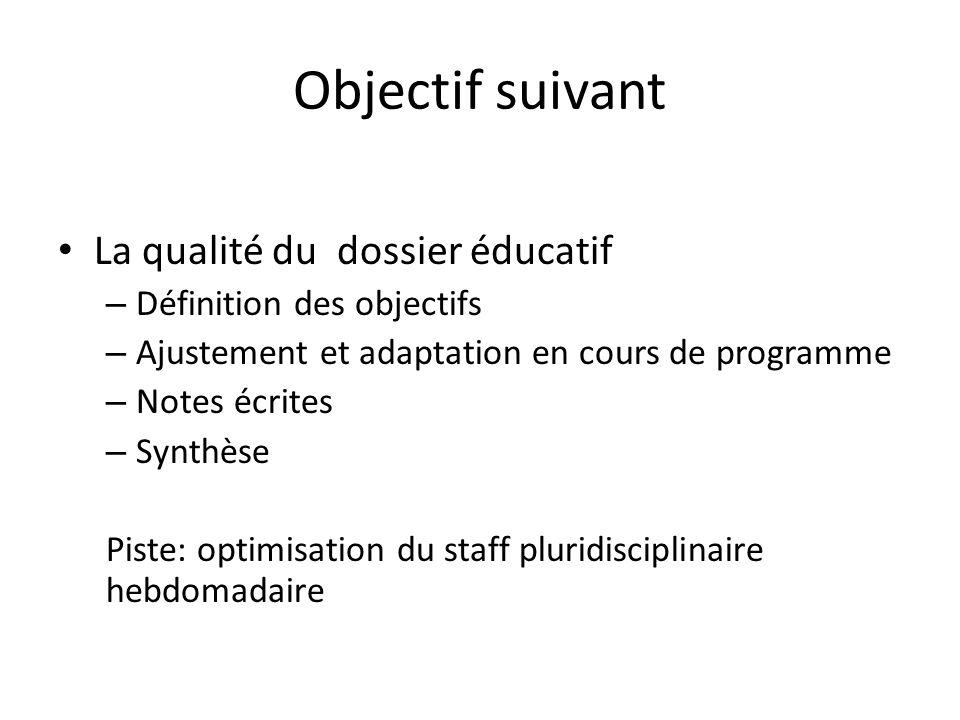 Objectif suivant La qualité du dossier éducatif