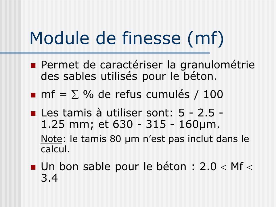 Module de finesse (mf) Permet de caractériser la granulométrie des sables utilisés pour le béton. mf =  % de refus cumulés / 100.