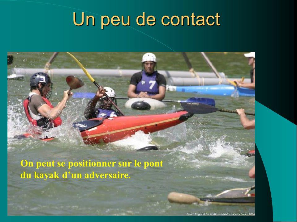 Un peu de contact On peut se positionner sur le pont du kayak d'un adversaire.