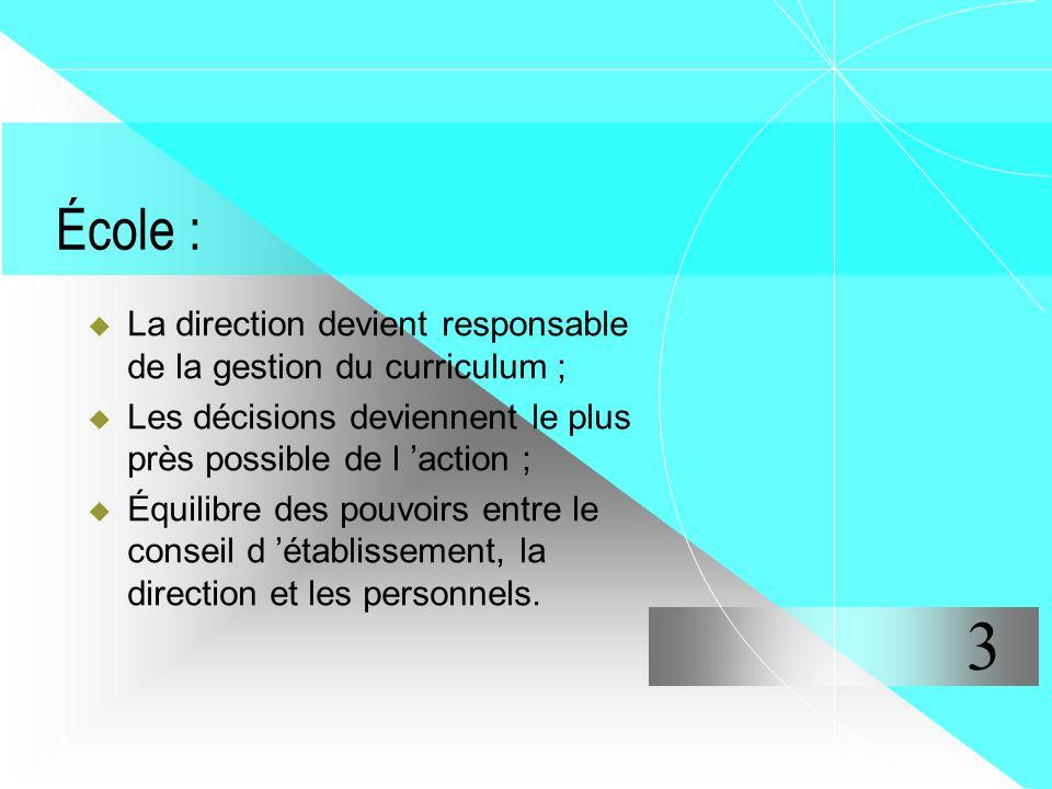 École : La direction devient responsable de la gestion du curriculum ; Les décisions deviennent le plus près possible de l 'action ;