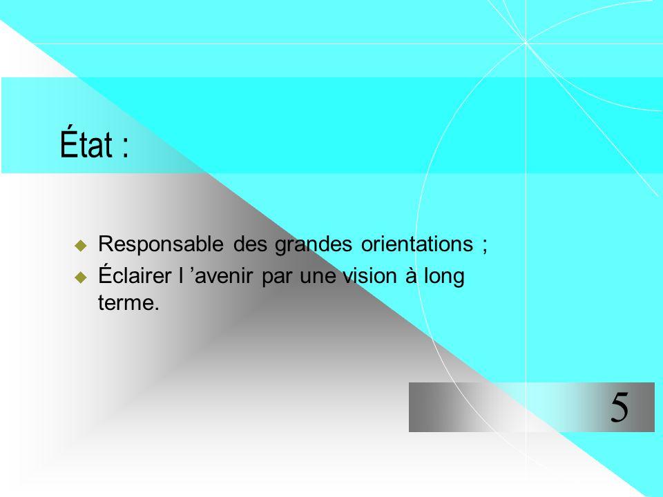 5 État : Responsable des grandes orientations ;