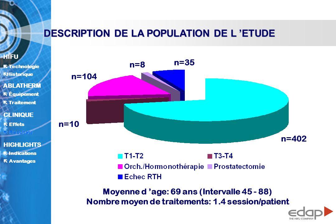 DESCRIPTION DE LA POPULATION DE L 'ETUDE