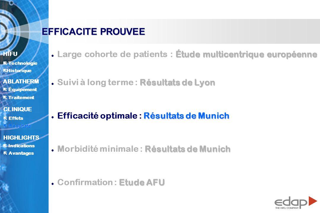 EFFICACITE PROUVEE Large cohorte de patients : Étude multicentrique européenne. Suivi à long terme : Résultats de Lyon.