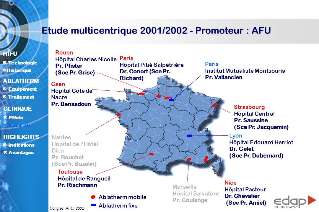 Etude multicentrique 2001/2002 - Promoteur : AFU