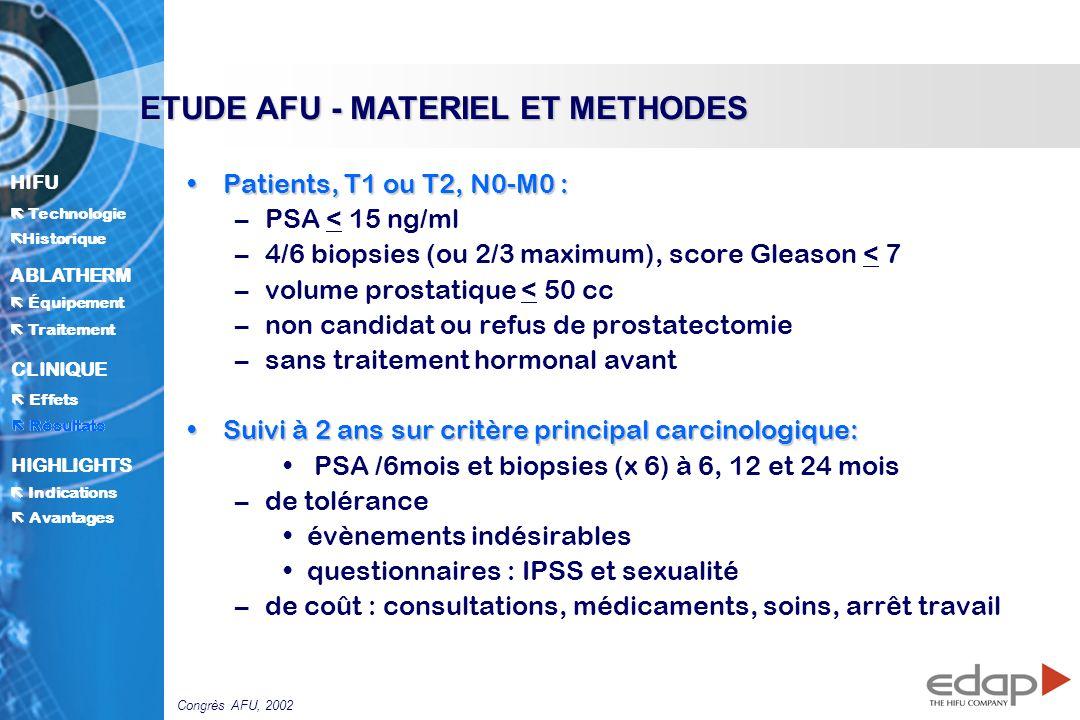 ETUDE AFU - MATERIEL ET METHODES