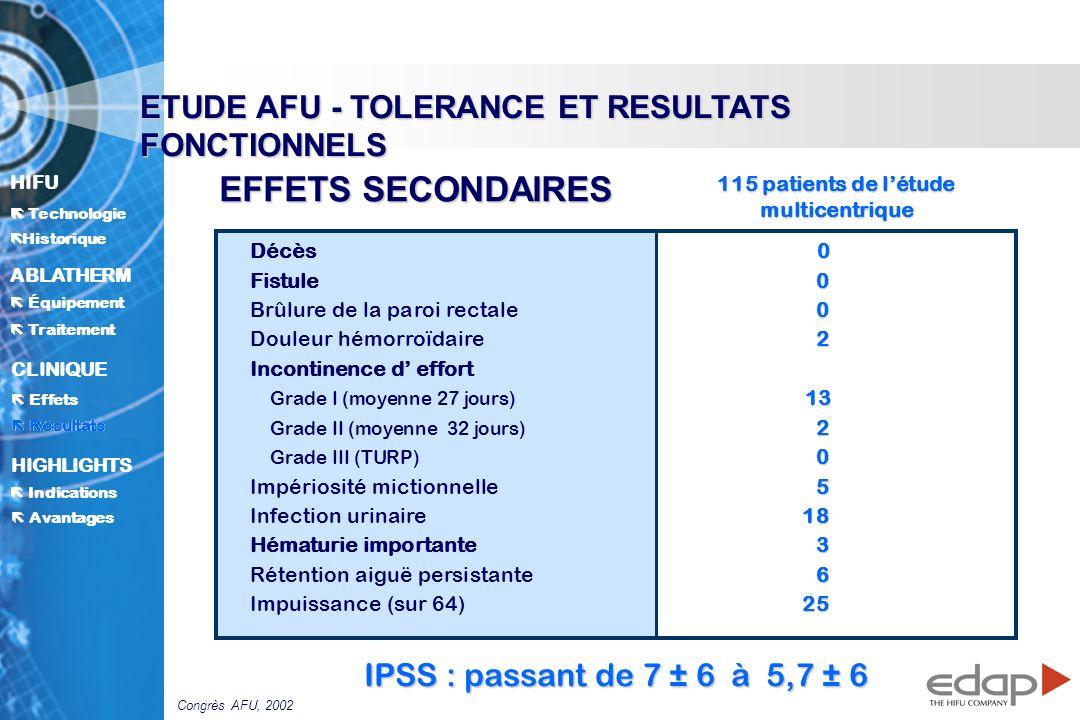 115 patients de l'étude multicentrique